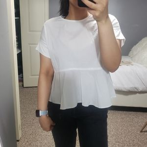 Tops - Cute White Peplum Blouse
